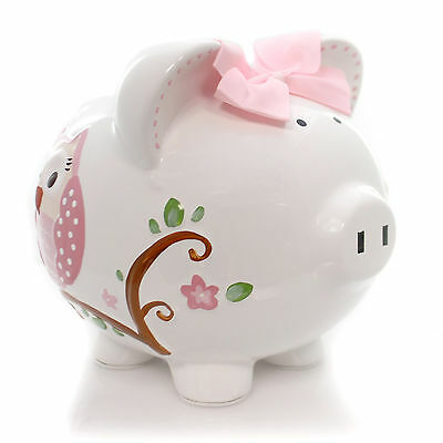 Bank PINK DOTTED OWL PIGGY BANK Ceramic Money Saver Butterfly 36837