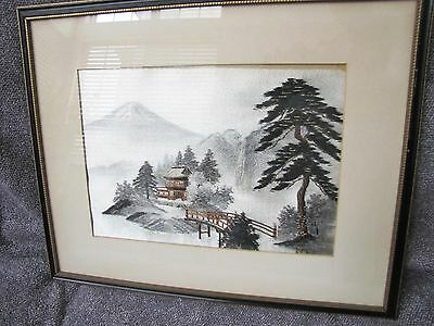 Antique Japanese Needlepoint w/ Frame