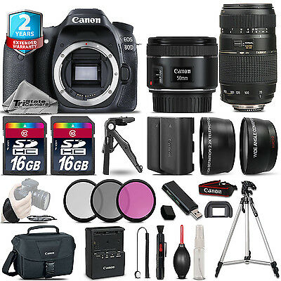 Canon EOS 80D Camera + 50mm 1.8 STM & 70-300mm + Extra Battery + 2yr Warranty