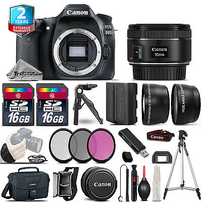 Canon EOS  80D DSLR Camera + 50mm STM -3 Lens Kit + 32GB +EXT BATT +2yr Warranty