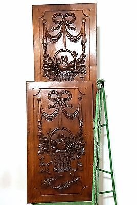 CARVED WOOD PANEL ANTIQUE FRENCH MATCHED PAIR WALNUT BOW FLOWER CARVING 19 th