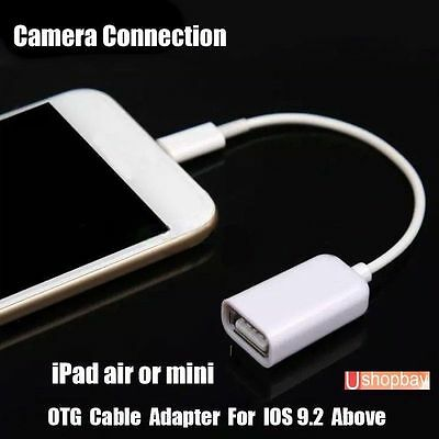 OTG Lightning  Camera USB Cable Connection Adapter Male 8 Pin to USB Female 10.2