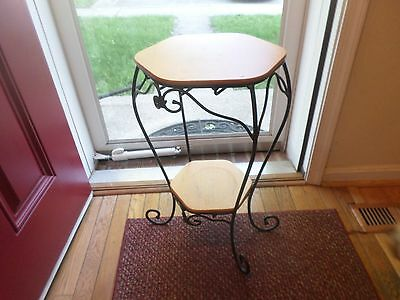 Longaberger Generations Wrought Iron Stand With 2 Wood Shelves