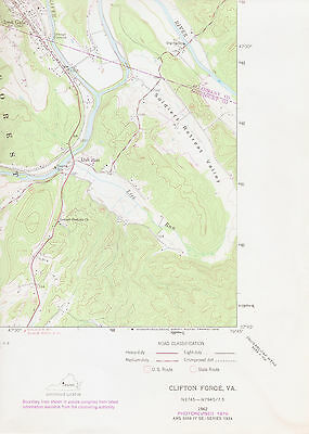CLIFTON FORGE, VIRGINIA   1962 USGS Topographic Map   Original 7.5-minute Topo