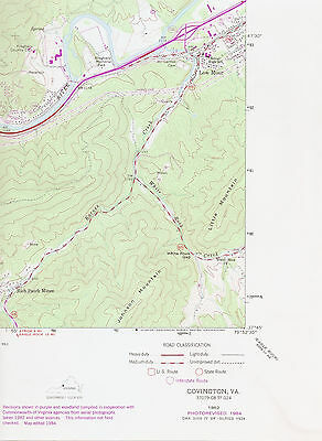 COVINGTON, VIRGINIA   1962/1984 USGS Topographic Map   Original 7.5-minute Topo