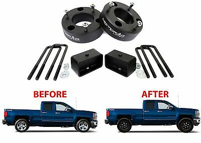 """MotoFab 3"""" Front & 2"""" Rear Leveling Kit For 2007-2017 GM Pickup Trucks Spacers"""