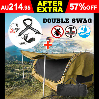 New Double Camping Swags Canvas Free Standing Dome Tent Bag Coffee Brown