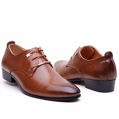 NEW Men's Leather Pointed Lace Up Wedding Casual Formal Dress Shoes Oxfords