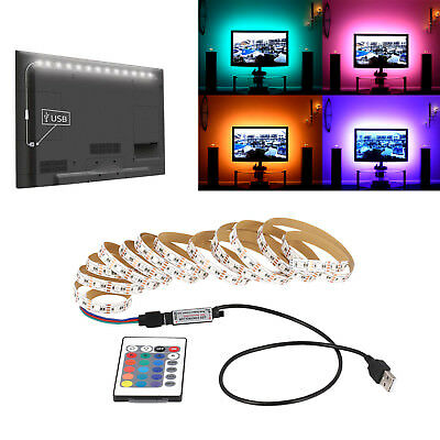 USB 5V 1M to 5M  LED Strip RGB Light TV Back Lighting Kit + IR Remote Controller