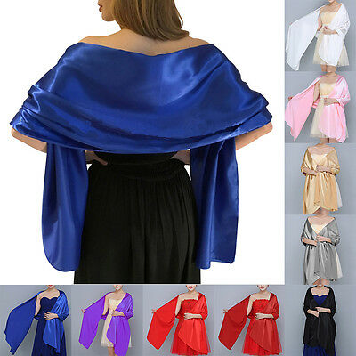 Satin Bridal Bridesmaid Wedding Prom Shawl Stole Wrap Bolero Pashmina Cover Up