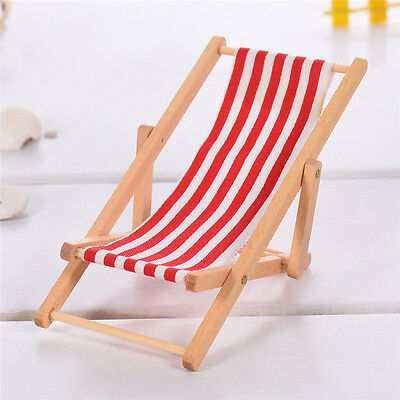 Mini Dollhouse Miniature Garden Beach Furniture Blue Stripe Folding Deck Chair