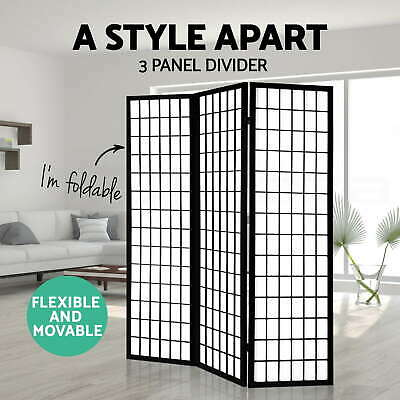 3 Panel Room Divider Living Bed Solid Wooden Timber Black Fold Screen Stand Wide
