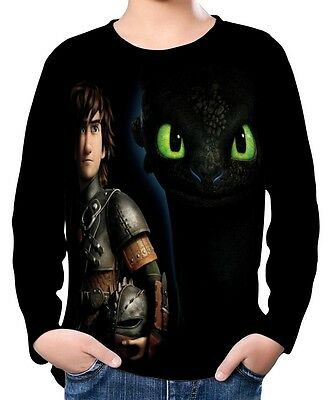 How To Train Your Dragon Kinder Jungen Langarm T-Shirt wc2 ael30452