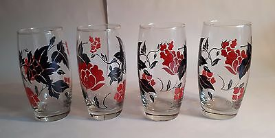 Set of 4 Vintage 1950s Tumblers/ Highball Glasses. Retro Red & Black Rose Design