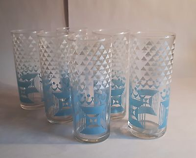 Set of 6 Vintage 1960s Tumblers/ Highball Glasses. Pale Blue/ White Retro Design