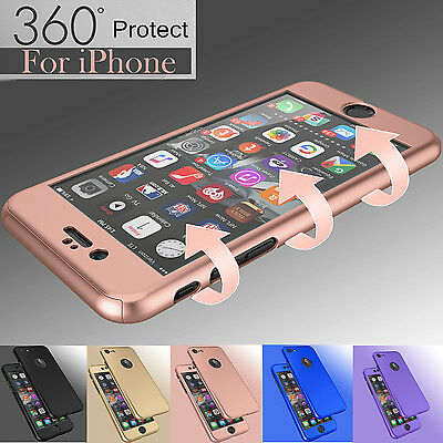 For iPhone 6 6s 7 Plus 360° Case Ultra Thin Slim Hard Cover+Tempered Glass