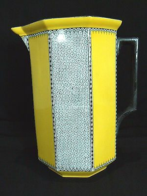 #5823 UNUSUAL Cauldon Ware RARE Large Art Deco Yellow Octagonal Pitcher Jug