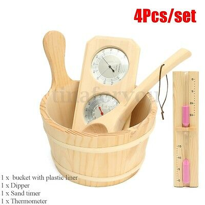 4pcs/lot Sauna Accessory Kit Pine Wood Bucket Dippers Sand Timer Thermometer