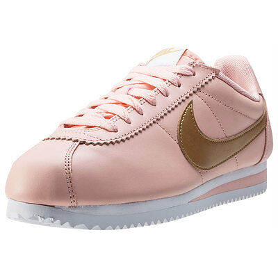Nike Classic Cortez Leather Womens Trainers Pink Peach New Shoes