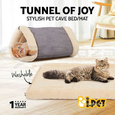 Pet Bed Cat House Sleeping Cave Kitten Dog Puppy Soft Mat Fleece Warm Tunnel