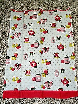 """Vintage Hand Maid Cotton Cafe' Curtains Kitchen Ware Fruit Red White 36"""""""