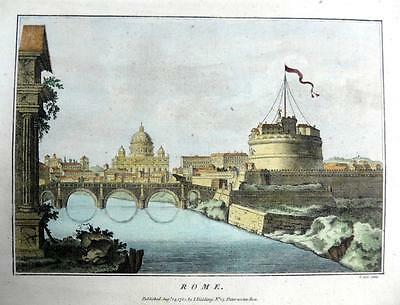ROME ITALY COPPER ENGRAVING WITH HAND COLOUR  GENUINE ANTIQUE c1784