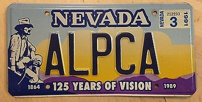 """Nevada 125 Years Of Vision  Vanity Auto License Plate  """" Alpca """" Nv Collector"""