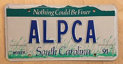 """South Carolina Vanity Auto License Plate  """" Alpca """" Sc Nothing Could Be Finer"""