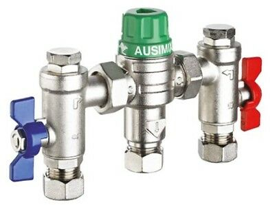 RWC Ausimix 22mm Compact 4-in-1 Thermostatic Mixing Valve Heat110785 Reliance