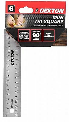 "Dekton Mini Tri Square 6"" 90 Degree Angle Hardwood With Steel Blade Diy Woodwork"