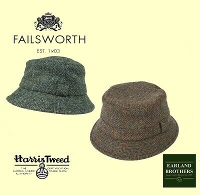 d3e390cc9dd Failsworth Harris Tweed Bucket Hat Grouse Hat Fishermans Tweed Hat Brown or  Blue