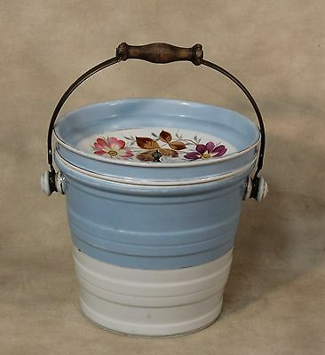 19th Victorian Hand-Painted Stoneware Ceramic Chamber Pot with Silverplated Lid