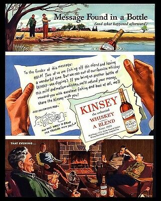 "Original 1946 ""kinsey Whiskey"" Message In A  Bottle Fishing Cabin Art Print Ad"