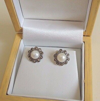Sterling Silver Pearl And Marcasite Stud Earrings