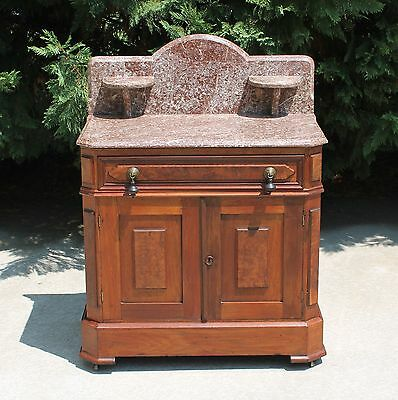 Splendid Victorian Walnut & Burl Tennessee Brown Marble Top Washstand c1875