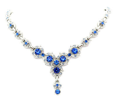 Gorgeous Sapphire Color Blue Necklace Earrings Set Wedding Party Prom H139