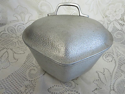 40's Old Century Silver Seal Cast Aluminum Heart Shaped Covered Pot