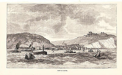 c 1878 Antique Engravings - New Calais- Dover Steamer- Dover View - Brussels Map