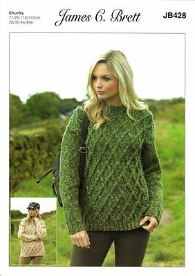 James C Brett Ladies Cable Jumper Highlander Chunky Knitting Pattern JB428