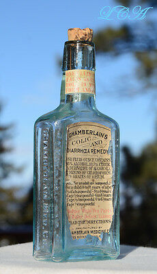 Old MID WESTERN antique labeled COLIC REMEDY patent medicine bottle w/ OPIUM
