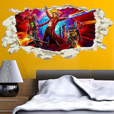 Guardians of the Galaxy 2 in wall Crack Kids Boys Bedroom Decal Sticker Gift New