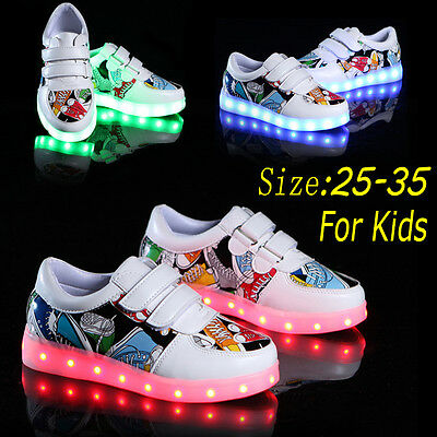 Kids Boys Girls 7 LED Light Up Luminous Sneakers USB Rechargeable Casual Shoes