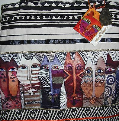 Nwt Laurel Burch ~Wild Cats~ Canvas Tote Bag Large Purse Unused Great Colors.