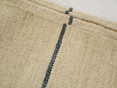 46X22 Vtg Antique BLACK STRIPE European HEMP LINEN Primitive FEED SACK GRAIN BAG