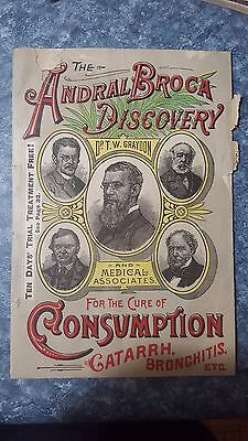 1892 Andral Broca Discovery Dr Thomas Graydon Medicine Advertising Booklet