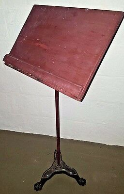Antique Music Sheet Stand Cast Iron Claw Feet Base Wood Book Holder Adjustable
