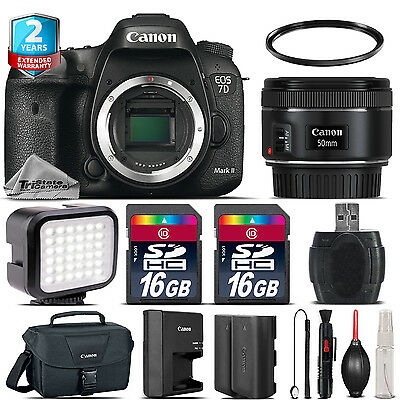Canon EOS 7D Mark II Camera + 50mm 1.8 + LED + CASE +EXT BAT +32GB +2yr Warranty