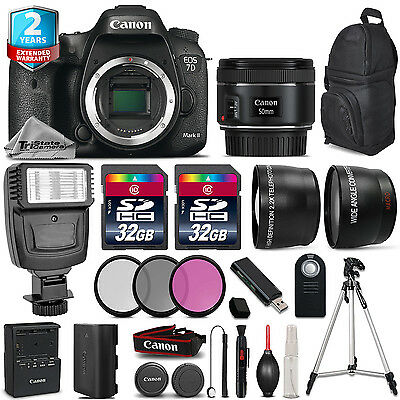 Canon EOS 7D Mark II Camera + 50mm 1.8 + Flash + 64GB +Filter Kit + 2yr Warranty