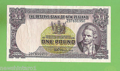 #d297. New Zealand One Pound  Circulated  Banknote  #297691950