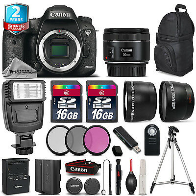 Canon EOS 7D Mark II Camera + 50mm 1.8  + Flash + 32GB + EXT BATT + 2yr Warranty